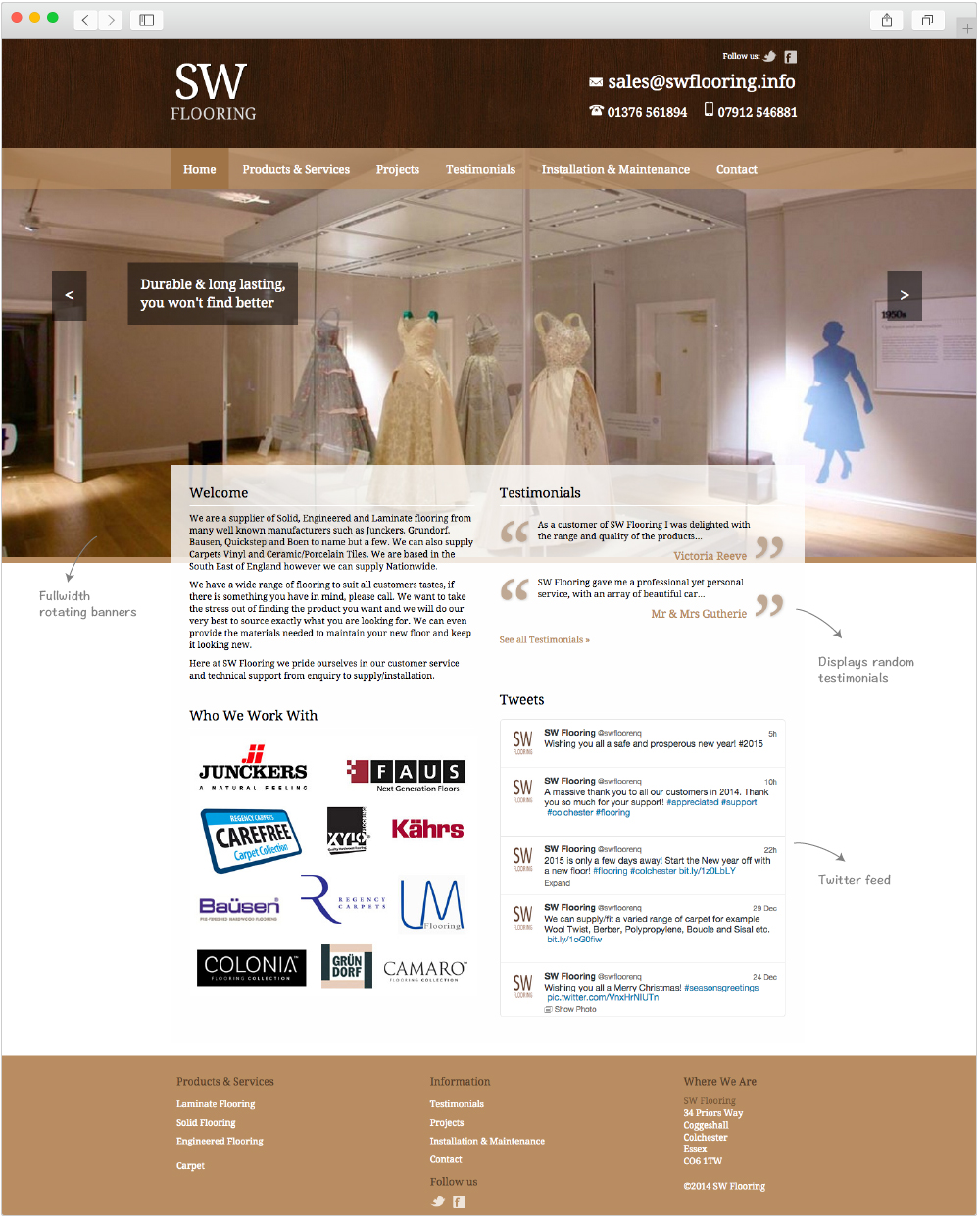 SW Flooring home page design by Studio Link 11
