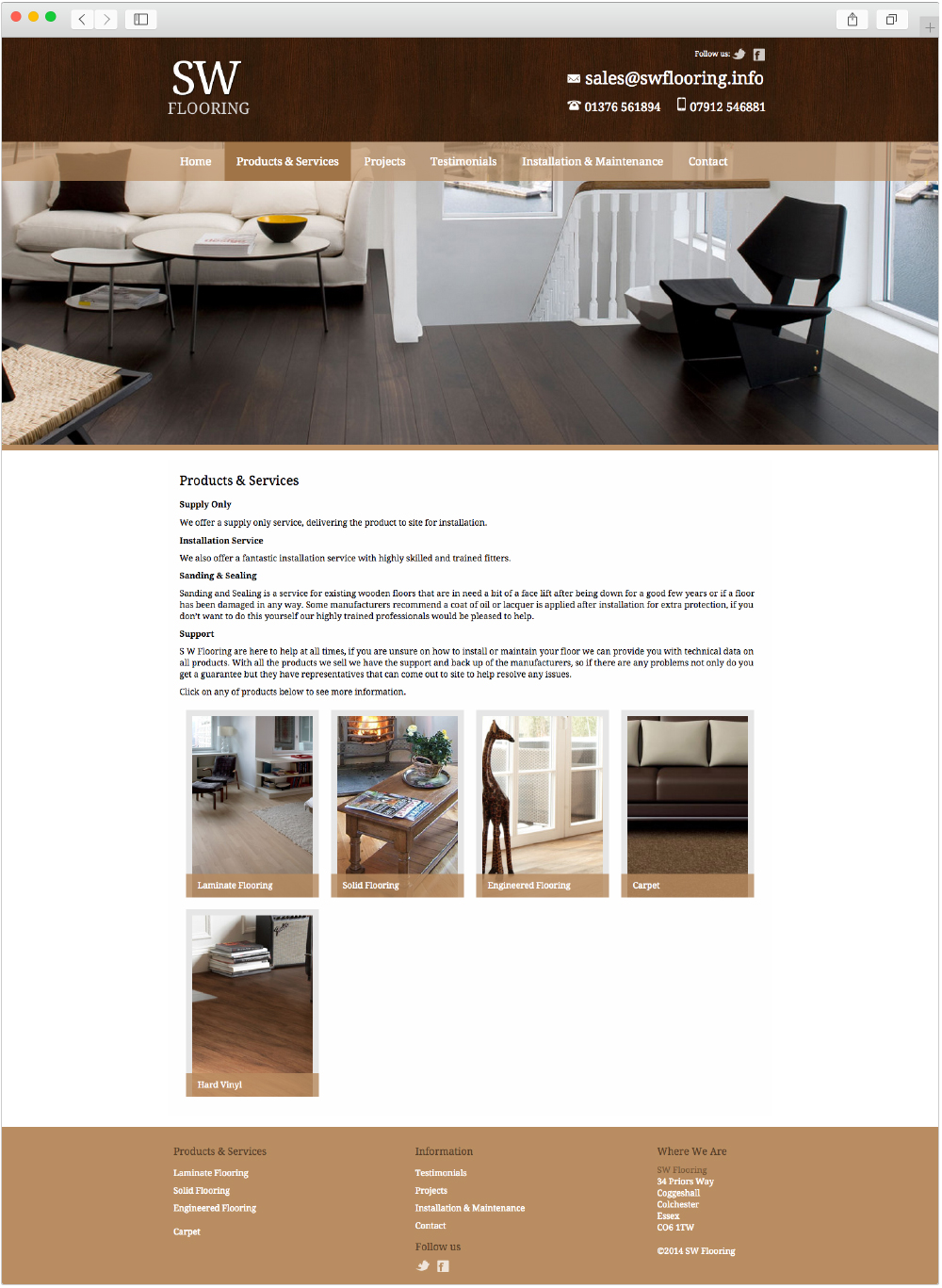 SW Flooring product page design by Studio Link 11