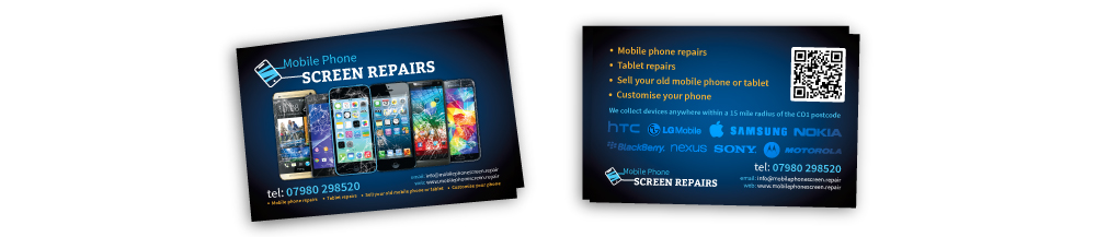 Mobile Phone Screen Repair-business cards design portfolio
