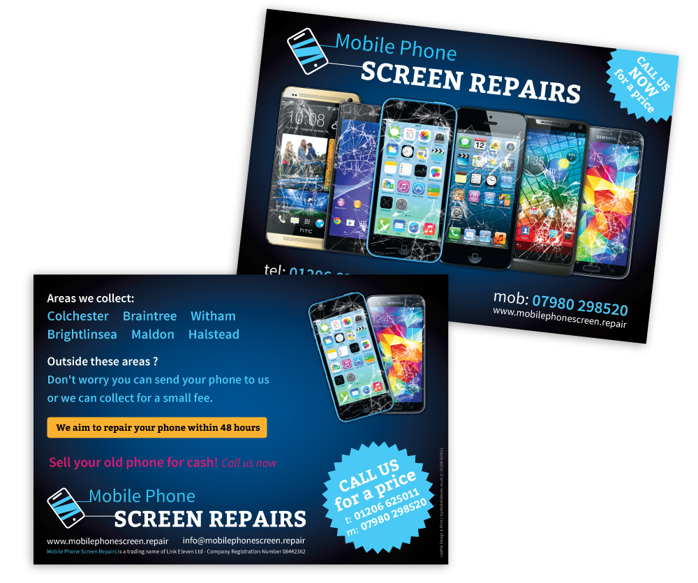 Mobile Phone Screen Repair leaflet design portfolio