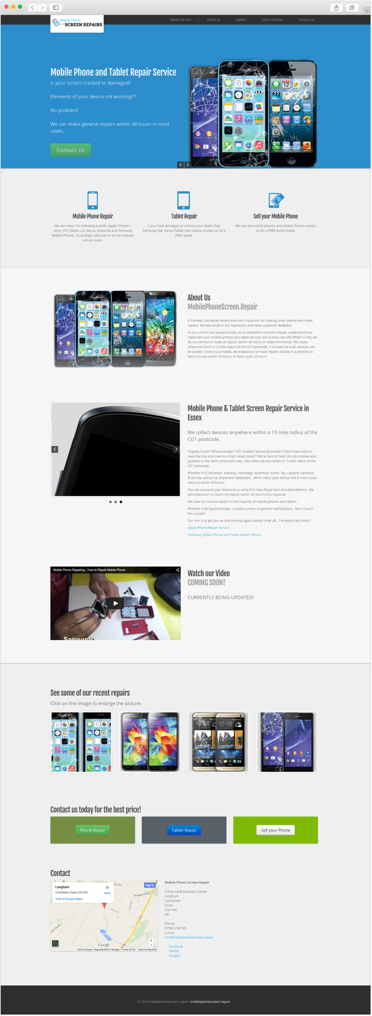 Mobile Phone Screen Repair web design by Studio Link 11