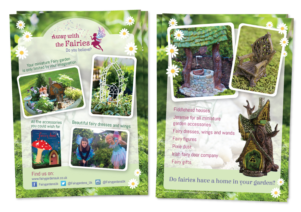 Fairy Gardens A5 leaflet design by Studio Link 11