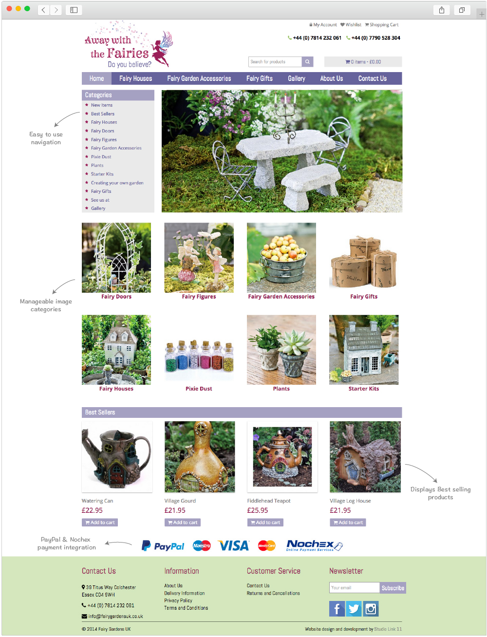 Fairy Gardens home page design by Studio Link 11