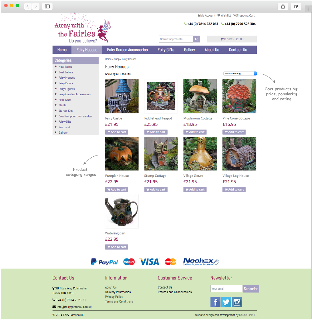 Fairy Gardens product range page design by Studio Link 11