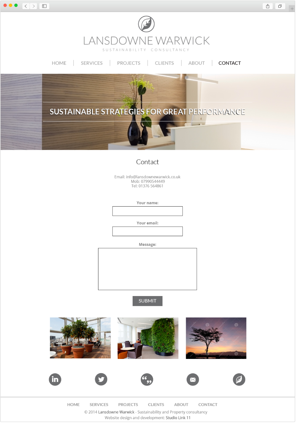 Lansdowne Warwick contact page design by Studio Link 11