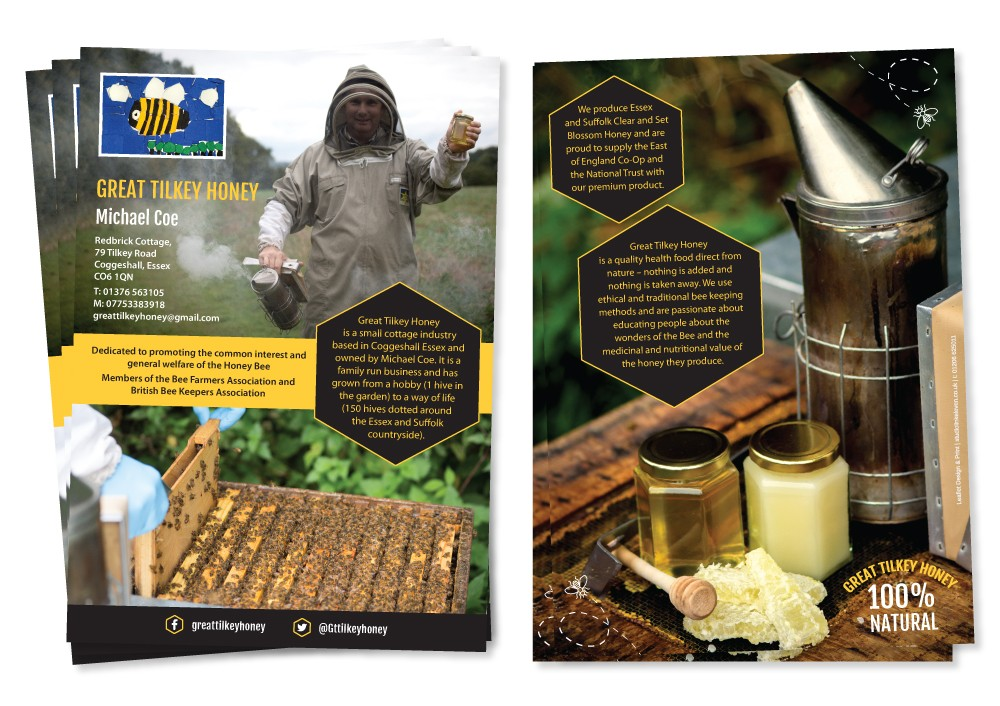 Great Tilkey Honey Link 11 A5 double sided leaflet design by Studio Link 11