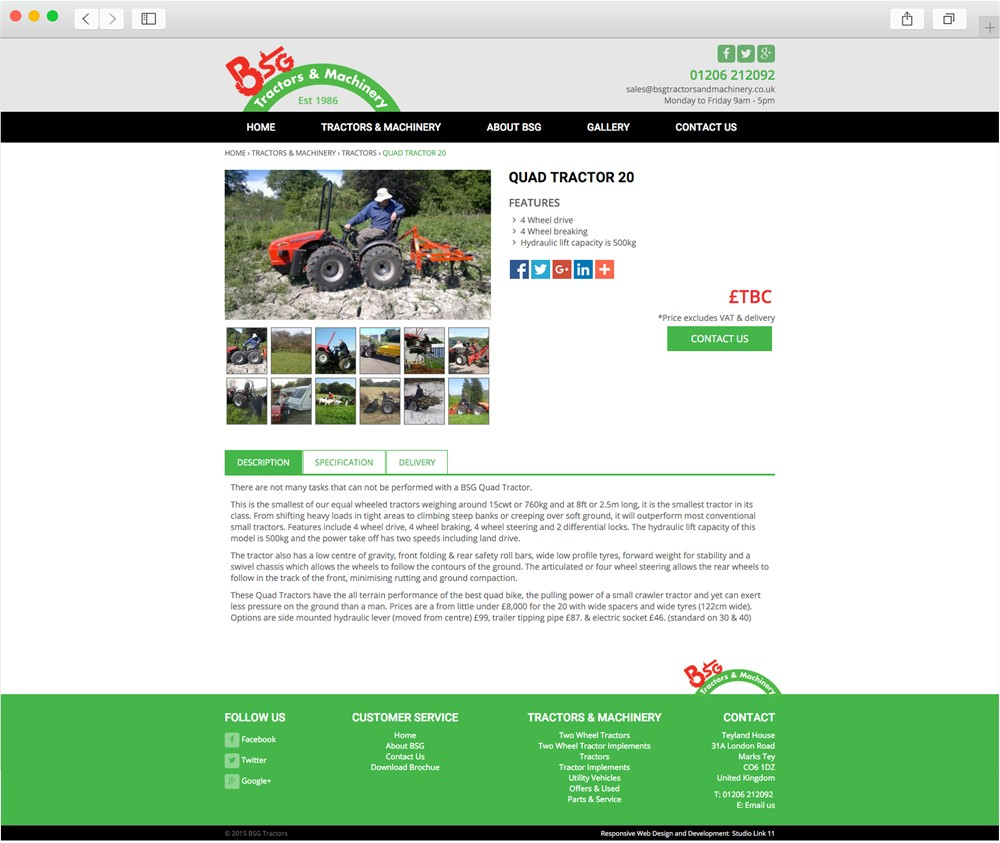 bsg tractors product page design